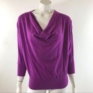 LOFT Dolman Sweater Size XL Purple Wool Blend